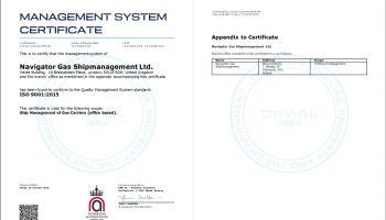 Read more about Navigator Gas Shipmanagement Ltd gains ISO 9001:2015 certification