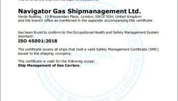 Read more about Navigator Gas Shipmanagement Ltd gains ISO 45001:2018 certification